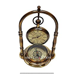 JD'Z COLLECTION Maritime Brass Antique Desk Clock With Compass Home Decor Nautical Collectible Best Birthday Gifted Item