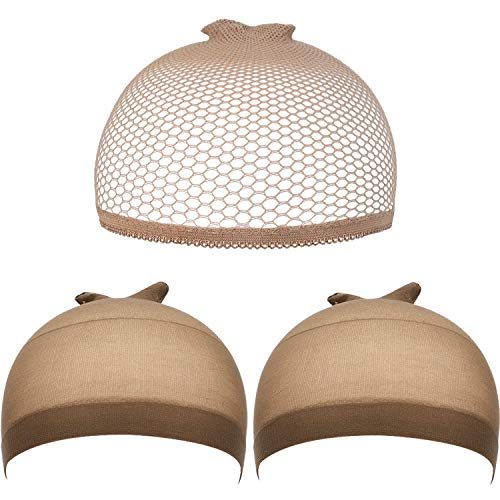 eBoot 3 Pack Wig Caps (Light Brown Nylon Caps and Light Brown Mesh)