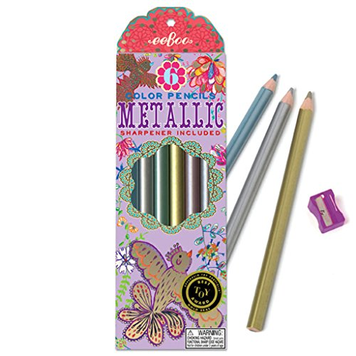 eeBoo Gold Birds Metallic Colored Pencils, Set of (Eboo Colored Pencils)