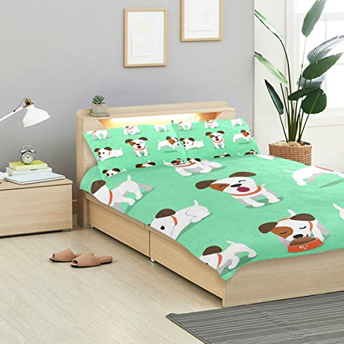 - KVMV Cartoon Character Jack Russell Terrier Dog Duvet Cover Set Design Bedding Decoration Twin XL 3 PC Sets 1 Duvets Covers with 2 Pillowcase Microfiber Bedding Set Bedroom Decor Accessories