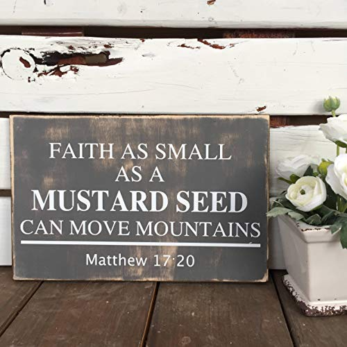 Faith As Small As A Mustard Seed Can Move Mountains//Matthew 17:20 Bible Verse Vintage Wood Sign Rustic Wooden Signs Wood Block Plaque Wall Decor Art Farmhouse Home Decoration - 12x20 inch