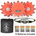 Road Flare Emergency Disk LED Set-3 Pack Including Headlamp and Batteries and Case, Flashing Warning Light Disk, for car, Truck, SUV, Boat, Motorcycle, Bicycle Roadside Safety.