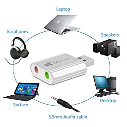USB Sound Adapter, EC Technology Aluminum External USB Sound Card Audio Adapter with 3.5mm Stereo Headphone/Speaker and Mono Microphone Jacks for Window XP/Vista/7/8, Mac OS 8.6 or above- Silver