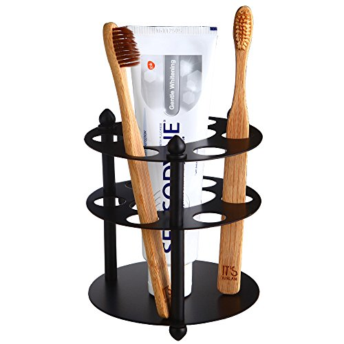 Holder Round Toothbrush (Mellewell Toothbrush Holder Toothpaste Organizer Stand Bathroom Storage in Flat Black, Stainless Steel, 03003RB)