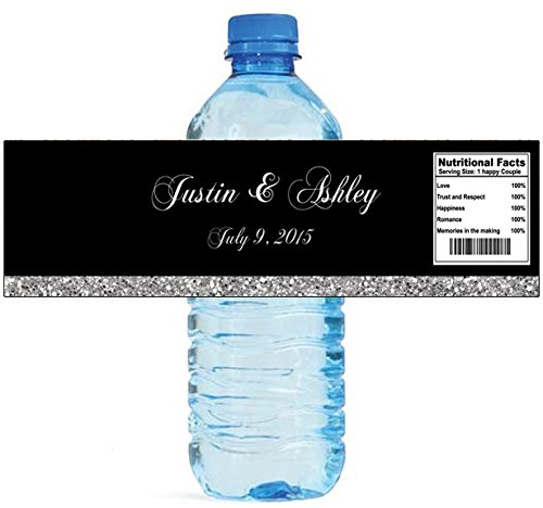 100 Black & Silver Glitter Wedding Anniversary Engagement Party Water Bottle labels Birthday Party Easy to Use Self Stick (Make Your Own Water Bottle Labels)