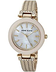 Anne Klein Women's Swarovski Crystal Accented Gold-Tone Mesh Bracelet Watch