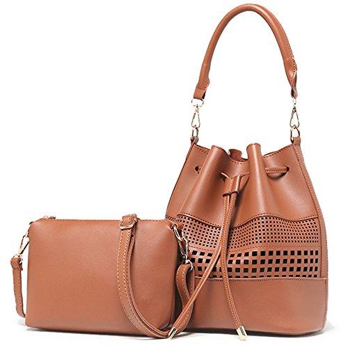 Iskas PU Leather Bag Hollow Design Lady Drawstring Shoulder Bag Handbag, 2 Piece Set Stylish Handle Purse Bucket Messenger Bags for Women - Khaki