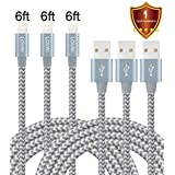 LOVRI 3Pack 6FT iPhone Nylon braided Lightning Cable USB Charging Cable Cord for iPhone 7/7plus/6s/6s plus/6plus/6/5s,iPad Mini, Air,iPad5,iPod,Compat