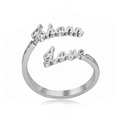 1f06a0ea51 Amazon.com: 925 Sterling Silver Nameplate Couples Ring Personalized Promise  Rings Custom Made with 2 Name Adjustable Ring: Jewelry