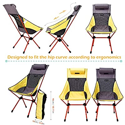 TRIWONDER Portable Camping Chair Lightweight Folding Backpacking Chair for Outdoor Camp, Travel, Beach, Picnic, Festival, Hiking (Yellow - with Pillow): Kitchen & Dining