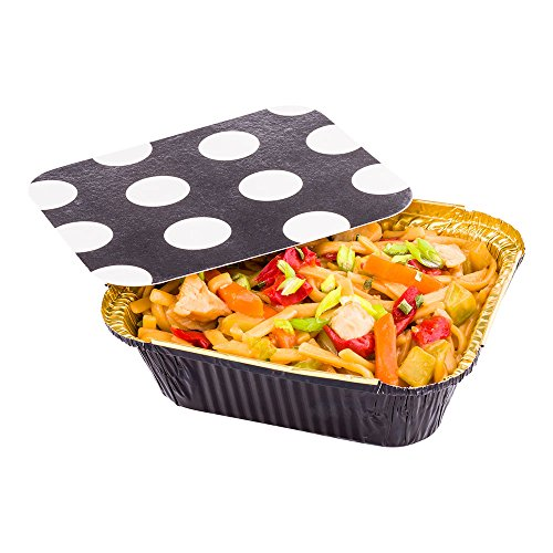 Disposable Aluminum Foil Take Out Food Containers, To Go Pans with Lids - 12 oz - Catering, Meal Prep, Carry Out - Black and Gold Foil with Polka Dot Lid - 50ct Box - Restaurantware