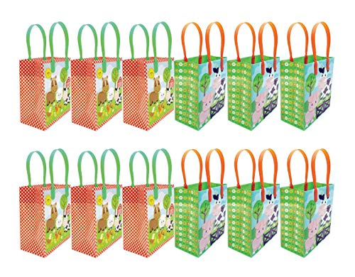 Barnyard Farm Animals Party Favor Treat Bags, 12 Pack