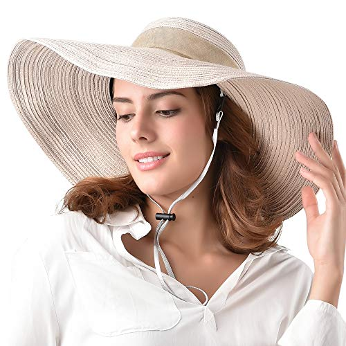 Wide Brim Floppy Sun Beach Hat 100% Cotton Packable Summer Hats Women