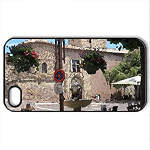 Church in historic centre of Frejus, France - Case Cover for iPhone 4 and 4s (Ancient Series, Watercolor style, Black)