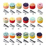 56 PCS Stainless Steel Icing Tips Cake Decorating Pastry Tips Russian Piping Tips Tool Set Mother's Day Gift- Birthday Cake Decoration|Cupcakes|Lava Cakes|including FREE HINGED STORAGE BOX