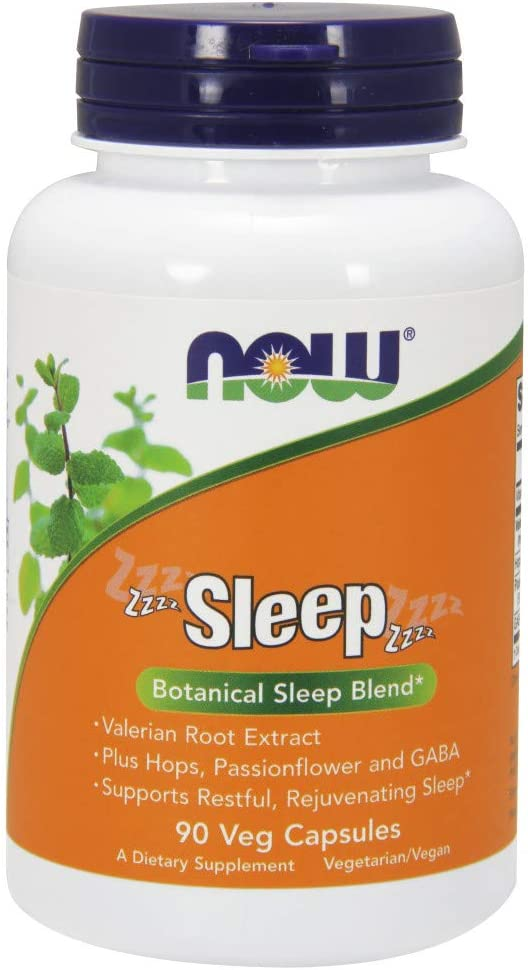 NOW Supplements, Sleep with Valerian Root Extract Plus Hops, Passionflower and GABA, Botanical Sleep Blend*, 90 Veg Capsules