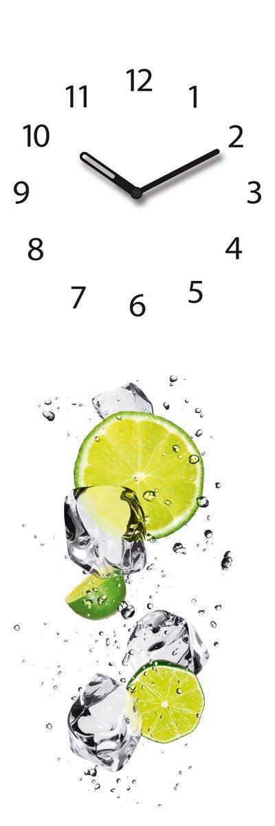 Amazon.De: Wanduhr Aus Glas, Lemo, Limetten Im Wasser, Weiß, 20X60