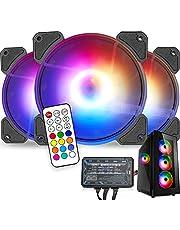 Radiador Ventilador TECHVIDA MF120 Halo Duo-Ring con iluminación RGB direccionable Ventilador de 120 mm, con LED de control independiente, almohadilla de goma absorbente, presión estática PWM para carcasa de computadora y radiador de líquido, paquete de tres piezas