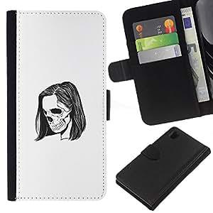 KLONGSHOP // Tirón de la caja Cartera de cuero con ranuras para tarjetas - Emo Esqueleto - Sony Xperia Z1 L39 //