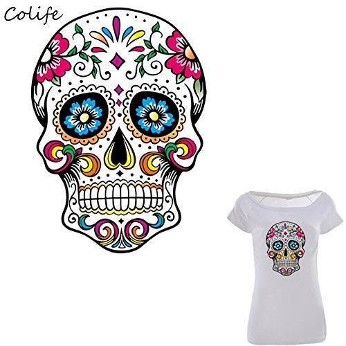 Mexican Sugar Skull Patch Patchwork Needlework Sewing Patches Print on T-Shirt Clothes Decoration Handmade DIY Craft Accessory Washable New Design for Clothing Dress Garment 26X19cm