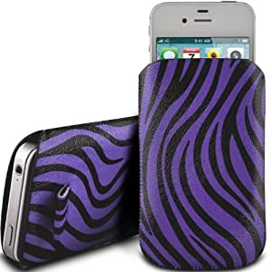 PURPLE ZEBRA PREMIUM PU LEATHER PULL FLIP TAB CASE COVER POUCH FOR T-MOBILE MOVE BALANCE BY N4U ACCESSORIES