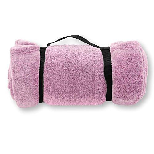 Pembrook Fleece Travel Blanket w/Handle - Pink - Super Soft