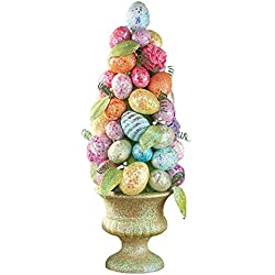 Sparkling Easter Egg Cone-Shaped Topiary Tabletop Centerpiece