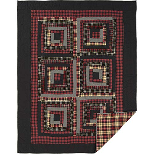 VHC Brands Rustic Bedding Cumberland Cotton Pre-Washed Patchwork Chambray Sham Twin Quilt Set Chili Pepper Red