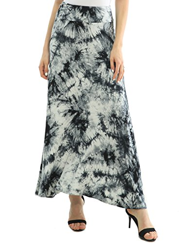 JOAUR Women's Tie Dye Elastic Waist Fold Over Long Blue Maxi Skirt - Denim Lightweight Skirt