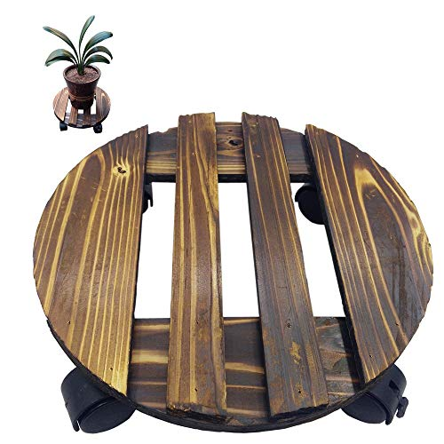 """Arlai 12"""" Carbonize Round Wood Planter Caddie, Load Bearing 88 lbs Heavy Duty Potted Plant Stand, Trolley Casters Rolling Tray"""