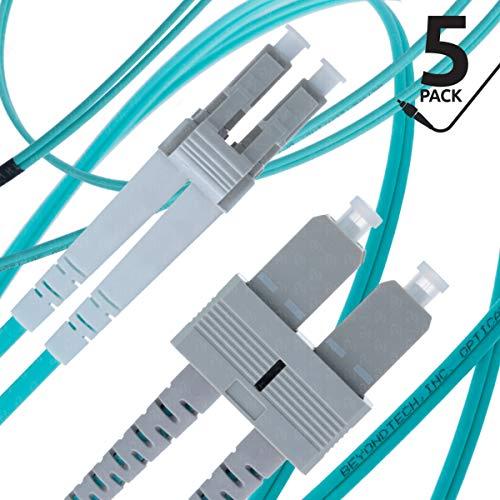 LC to SC Fiber Patch Cable Multimode Duplex - 2m (6.56ft) - 50/125um OM3 10G (5 Pack) - Beyondtech PureOptics Cable Series
