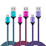 Micro USB Cable Android, [3 Pack] 6Ft Nylon Braided Sync and Fast Heavy Duty Charging Cable Phone Charger for Samsung Galaxy S7 S6 J7 Edge,Note 5,LG G3 G4,Kindle,Xbox,PS4,Nexus,Motorola,Android Phones