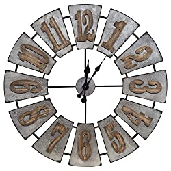 Everly Hart Collection Oversized Metal and Wood Windmill Wall Clock