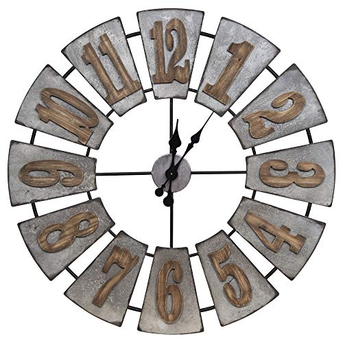 Everly Hart Collection Oversized Metal and Wood Windmill Wall Clocks, -