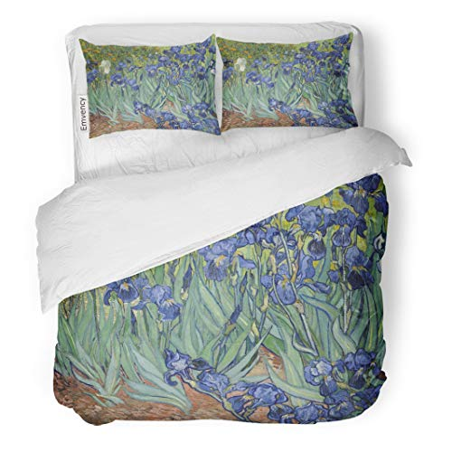 Semtomn Decor Duvet Cover Set Twin Size Irises by Vincent Van Gogh 1889 Dutch Post Impressionist 3 Piece Brushed Microfiber Fabric Print Bedding Set Cover]()