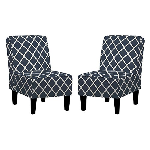 Navy Blue Polyester with Creamy White Trellis Pattern and Dark Espresso Legs Finish, (Set of 2) Armless Accent Chair and Transitional Style, Includes Cross Scented Candle Tart