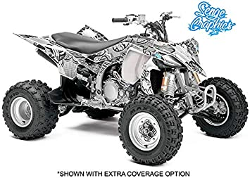Senge Graphics Kit compatible with Yamaha 2003-2008 YFZ 450 /& 09-13 YFZ 450 Steel Frame Zany Blue Graphics Kit with blank number plates WITH EXTRA COVERAGE