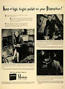 1943 Ad Modess Sanitary Napkin Pad Personal Care Feminine Hygiene Worker Woman - Original Print Ad