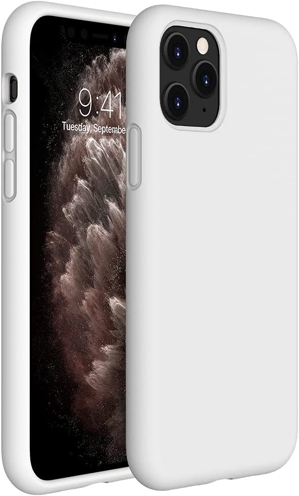 Miracase Liquid Silicone Case Compatible with iPhone 11 Pro Max 6.5 inch(2019), Gel Rubber Full Body Protection Shockproof Cover Case Drop Protection Case (Creamy White)