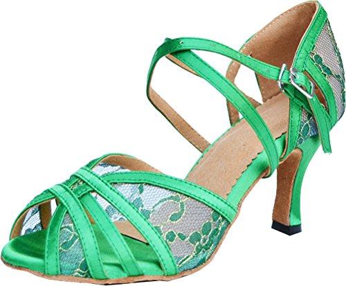 Abby 004 Damesbody Strap Latin Peep-toe Lace Professionele Dansschoenen Groen