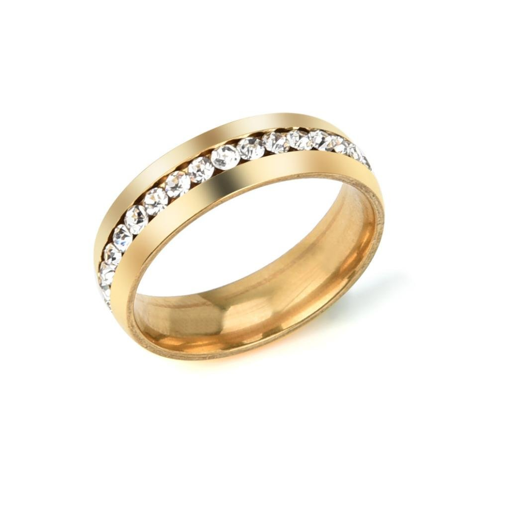 iLH Clearance Couple Rings,ZYooh Women Stainless Steel Diamond Rings Engagement Diamond Rings Jewelry Gift (#8, Gold)