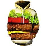 Paniclub 3D Printed Hoodie Hamburger Hip Hop Pullover Tops Christma Sweatshirts Large