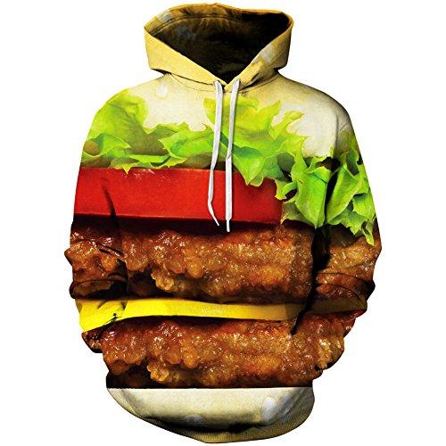 Paniclub 3D Printed Hoodie Hamburger Hip Hop Pullover Tops Christma Sweatshirts Large by Paniclub