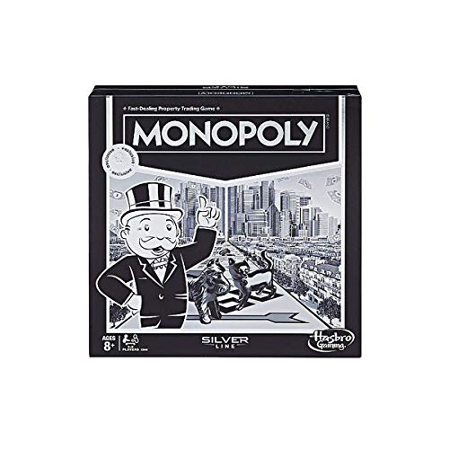 Monopoly Silver Line Exclusive Premium Board Game - New Modern Style with Foil Board -