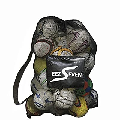 Heavy Duty Extra Large Sports Ball Mesh Bag, Equipment Bag for Sport Soccer, Beach and Swimming Gears. Adjustable Shoulder Strap For Adults and Kids. Side Pocket for your Personal Item. 40 x 30 inches