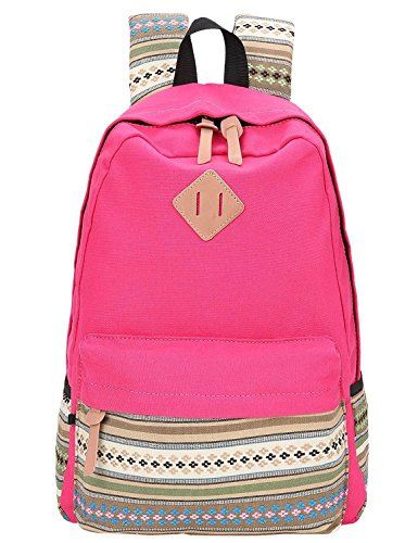 Hot Pink Canvas School Bag Backpack Girls, Hmxpls Bohemia Boho Style Unisex Fashionable Canvas Zip Backpack School College Laptop Bag for Teens Girls Students Casual Lightweight Travel Daypack Outdoor