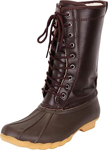 1f0c4ad9184a Cambridge Select Women s Faux Fur Lined Lace-Up Duck Rain Snow Winter Boot