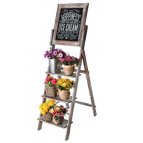 MyGift Decorative Torched Wood Easel Style Chalkboard Stand