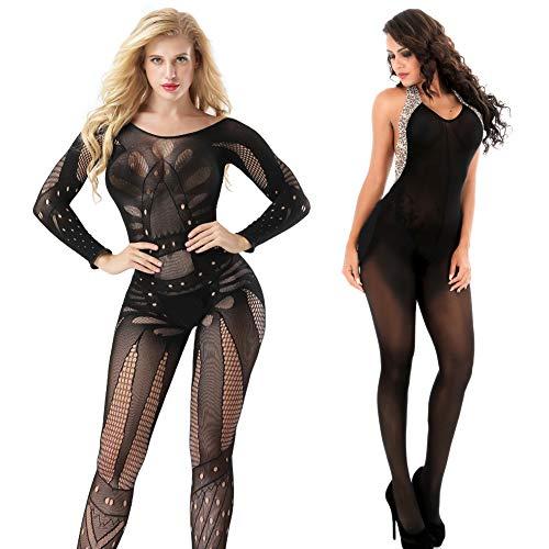 VivilY 2Pack womens body stocking fishnet lingerie Fishnet Stoking Tights