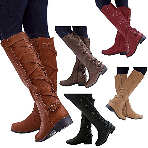 Ourhomer  Clearance Sale! Womens Ladies Shoes Buckle Roman Riding Knee High Cowboy Boots Martin Long Boots